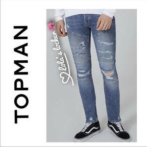 Topman Skinny Moto Denim Jeans